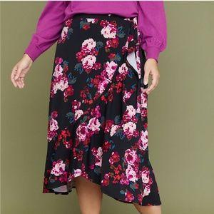 New Lane Bryant Floral Printed Faux Wrap Skirt
